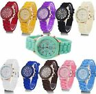 1 Men Women Jelly Rubber Quartz Geneva Fling Chronograph Bracelet Wrist Watches