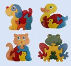 Cat Frog Dog Duck Animal Wood jigsaw Puzzle 14cm 5 Pieces