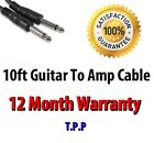 10ft Guitar To Amp Cable Lead Standard Straight 1/4 Connection Ends Jack Plug