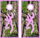 Camo Deer Logo Pink Cornhole BagToss Game Sticker Decal Set Wrap Wraps