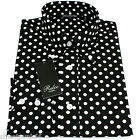 Relco Mens Black & White Polka Dot Long Sleeved Shirt Mod Skin Retro Indie 60s