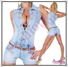 Sexy Women's Denim Playsuit Ladies Casual Short Overall Size 8,10,12,14 UK