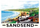 218 Vintage Railway Art Poster Sandsend Near Whitby North Yorkshire *FREE POSTER