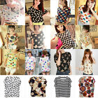New Womens Colorful Casual Soft Chiffon Batwing Loose Blouse T-Shirt Tops S M L