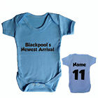 BLACKPOOL FC PERSONALISED BABYGROW FOOTBALL CHOOSE YOUR NAME AND NUMBER