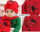 Knitted lady bug Red or Blue Boy Girl unisex Beanie and Scarf Hat 12-24 months