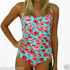 ♥ NEW! GEORGIA China Blue Floral Ruched One Piece Ladies Swimsuit Size 12 14 16
