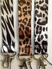 Animal Print LANYARD keychain ID NEW Zebra or Leopard Black and White or Brown