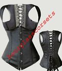 Sexy Black Underbust Satin Waistcoat Corset Top Basque Steel Boned Gothic Laced