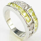 Size 6,7,8,9 Jewelry Woman's Peridot 10KT White Gold Filled Ring