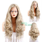 "24"" / 28"" Long Wavy 2 Tone Blonde Lace Front Synthetic Wig Heat Resistant"