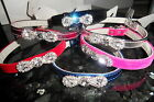 CRYSTAL DIAMANTE BOW  DOG PUPPY CAT KITTEN COLLAR XSM SM MED LARGE 9 COLOURS