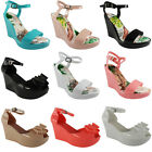 NEW WOMENS LADIES ANKLE STRAP PATENT PLATFORM JELLY PEEP TOE WEDGES SHOES SIZE
