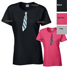 Adult Sizes Womens Funny T-Shirt  Fake Tie Women Shirt Tee SIZES S-XL