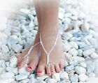 KIDS Barefoot Sandals  BRIDAL WHITE Beach Bridal Flowergirl Girls Foot Jewellery