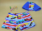 Cute Colorful Cars Swim Shorts Trunks and Swim Cap For Kid Child Boy 2-10 Years