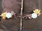 boot bracelet gold & blue steel handcrafted 11mm opelite beads USA by Marie #456