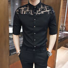 New Trend Fashion Mens Necessary Lace Stitching Slim Fit Casual Shirt 3Colors