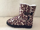 UGG Boots One Button Style Synthetic Wool Colour Brown Leopard For Junior Girl