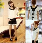 Sexy Fashion Women Casual Lace Chiffon Peter Pan Collar T Shirt Blouse Top
