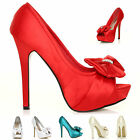 LADIES WOMENS HIGH HEELS PARTY EVENING OPEN PEEP TOE SATIN SANDALS SHOES SIZE'S
