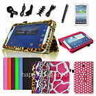 "Folio PU Leather Case Stand Cover for Samsung Galaxy Tab 3 7 7.0"" SM-T210 Bundle"