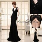 2014 Mermaid Black Lace Long Party Gowns Prom Dresses V Neck Formal Evening Gown