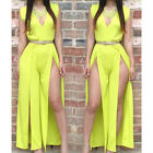 Party Hot Womens Deep V Neck Sleeveless Side Split Maxi Long Dress [JG]