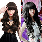 PERSONALITY COSPLAY WOMAN'S LONG CURLY WAVY FULL WIGS HAIR WITH WIG CAP HOT B1BK