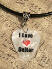 His Hers Custom Guitar Pick Leather Necklace Made in USA!  7 options!