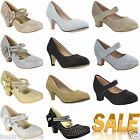 NEW GIRLS DIAMANTE BOW KIDS PARTY WEDDING EVENING MARY JANE LOW HEELS SHOES SIZE