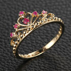 Red Crown Rubies Real 14K Yellow Gold Engagement Wedding Band Anniversary Ring