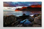 LARGE RED MOUNTAINS SEA SUNSET FRAMED CANVAS WALL ART PICTURE STUNNING NEW PRINT
