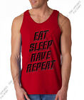 Men EAT SLEEP RAVE REPEAT Red Tank top party hip hop shirt crazy club high