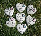 child memorial resin heart & teddy grave side crematorium  pink or blue L352