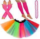 NEON 80s FANCY DRESS TUTU SET GLOVES LEG WARMERS AND BEADS HEN PARTY COSTUME