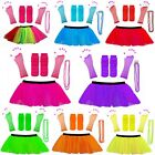 NEON UV TUTU GLOVES LEG WARMERS AND BEADS 1980S FANCY DRESS HEN PARTY COSTUME 80