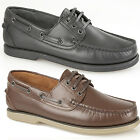 Mens New Leather Lace Up Moccasin / Loafers Deck Boat Shoes 3 - 12