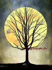 Snowy Owl on Tree against Moon Pick Color Matted Picture Art Print A564