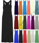 LADIES TOGA MAXI VEST DRESS WOMENS PUFF BALL RACER BACK MAXI