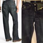 $189 Men's Seven 7 For All Mankind Relaxed Straight Jeans in Dark Distress 28-30