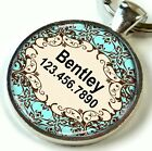 Floral Custom ID Pet Tags Personalized for Dogs & Cats Blue