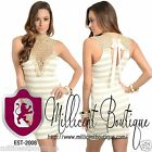 Womens Sexy Gold Bodycon Dress Crocheted High Neckline Ribbon Tie Neck