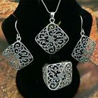 STERLING SILVER .925 SET - PENDANT, RING, EARRINGS. RING SIZES 5-12 AVAILABLE