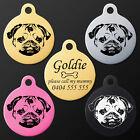 Personalised Engraved Pug Round Pet Dog ID Tag Collar Charm 6 Colors