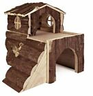 Two Storey Bjork Natural Wood House With Ramps Hamster Degu Mice Guinea Pig