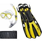 Mares Volo Marea Pro Snorkelling Set - Mask, Fins, Snorkel and Net Bag - YELLOW