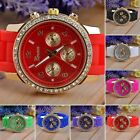 Crystal Stone Quartz Ladies/Womens/Girl Jelly Silicone Sport Wrist Watch HC
