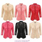New Ladies Open Lace Blazer Womens Padded Summer Smart Suits Coat Jacket Top