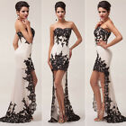 Vintage Long Lace Mermaid Evening Dress Prom Ball Gown Bridesmaid Formal Dresses
